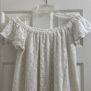 Roxy Dresses - Roxy crochet off the shoulder white dress size Med
